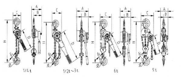 武林飞鸽hsh型c(k)类手扳葫芦结构图